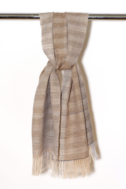 handwoven plaid, wool and linen combination
