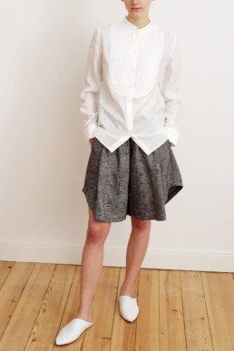 Tuxedo shirt and Linen short. Sustainable luxury fashion.