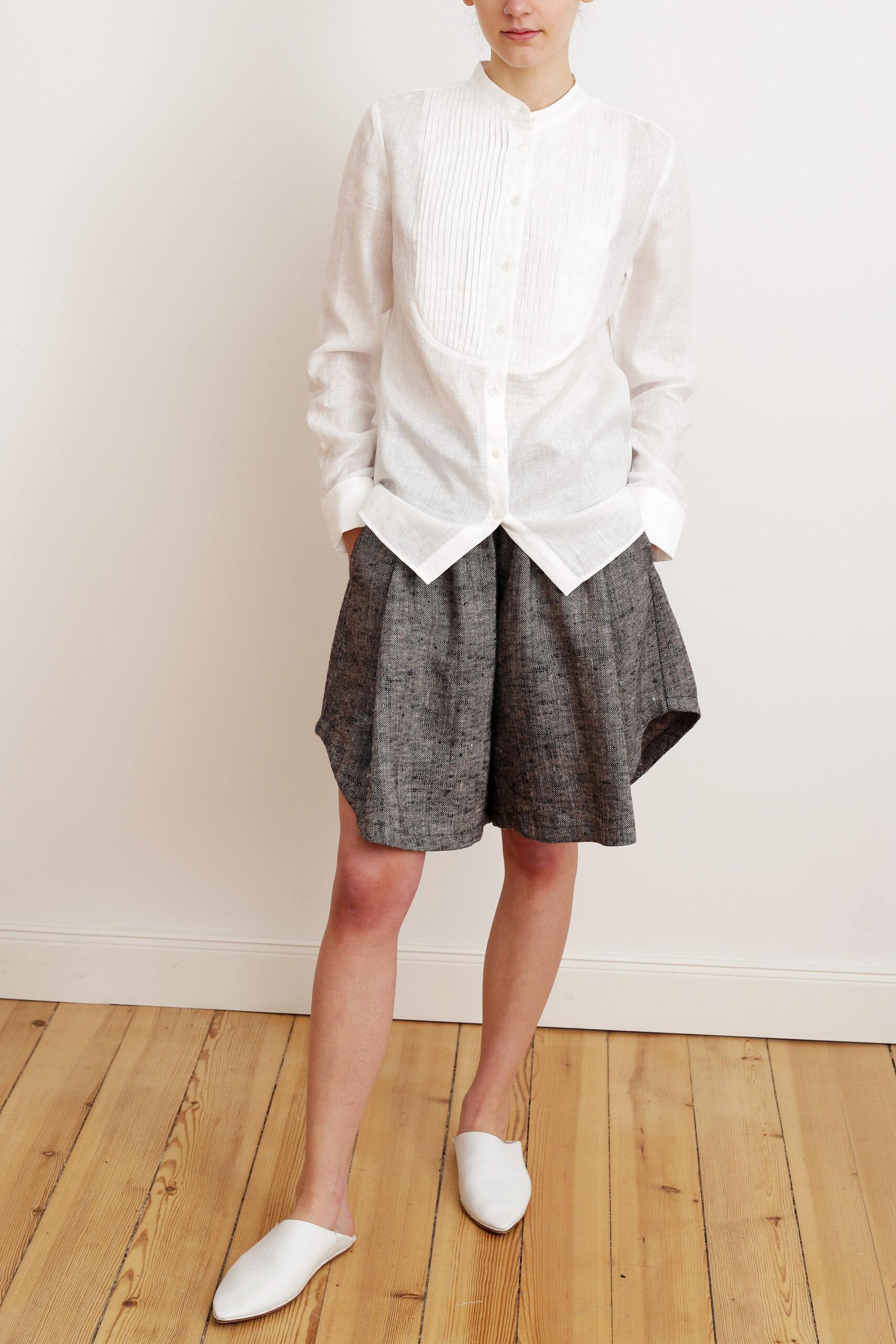 Tuxedo shirt and Linen short. Sustainable luxury fashion.