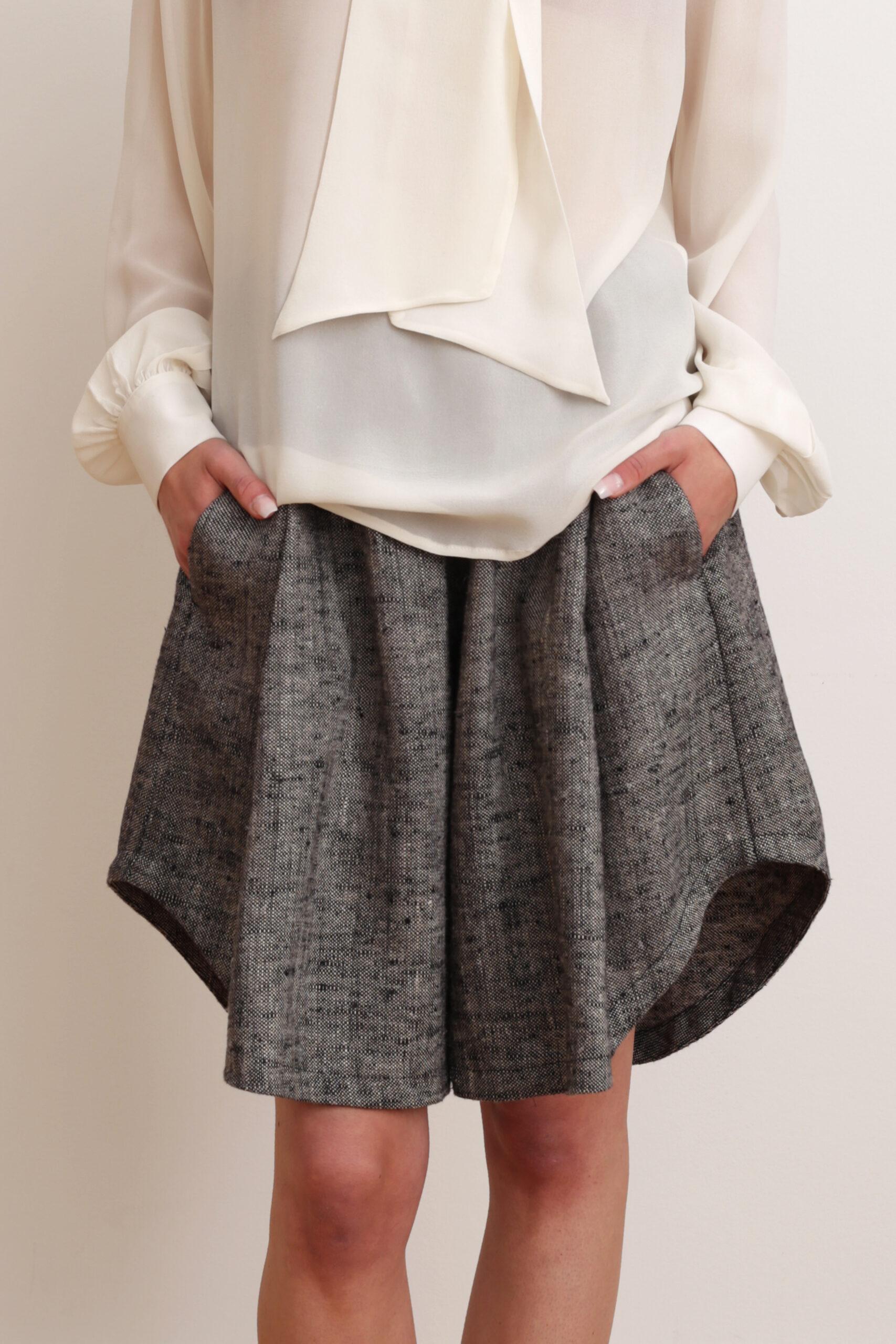 Shorts and blouse. Sustainable luxury fashion.